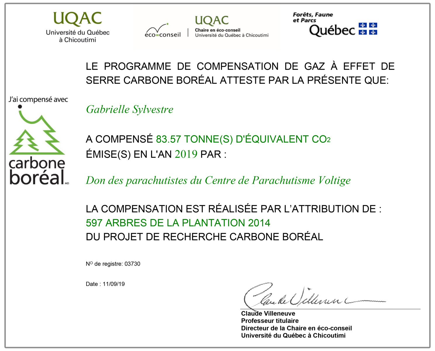 Carbone Boréal Certificat 2019